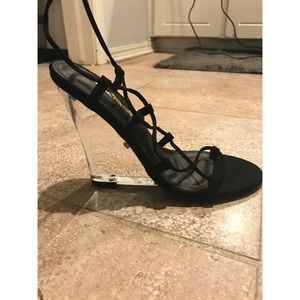 NWOT Clear Wedge Heels